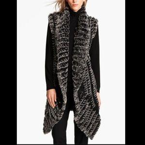 Alberto Makali rabbit fur long cardigan vest Large